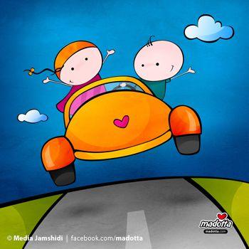 Happy couple in a car - madotta