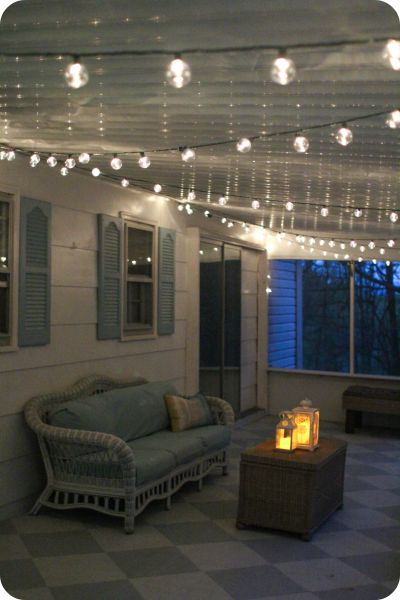 Simple screened porch light - outdoor string lights make everything look pretty and are easy to install. #BigLotsOutdoor #ad