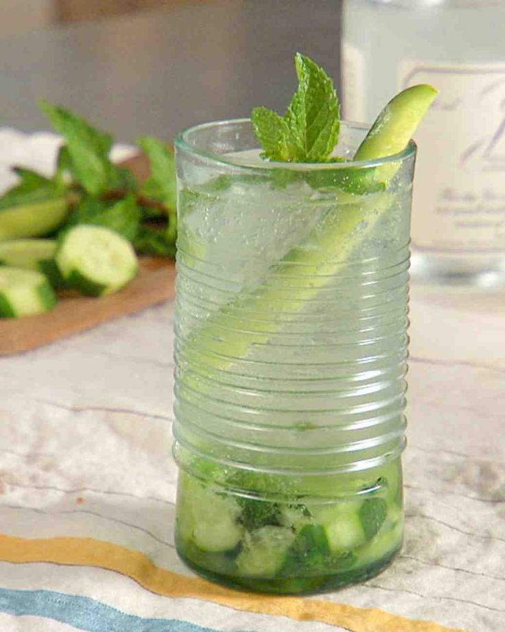 Cucumber-Mint Gin and Tonic 3 sprigs of mint 2 inch piece English ...