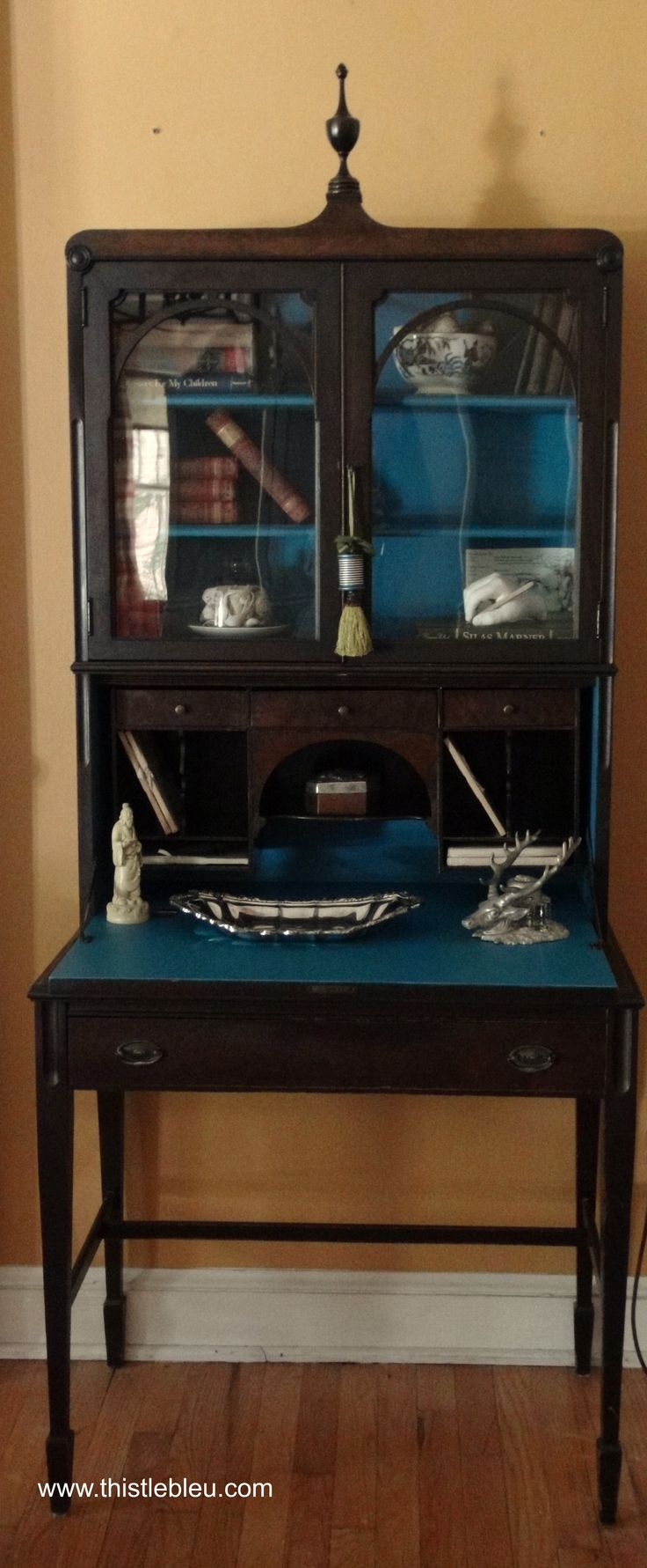 check out the tassel with a spool of thread! painted secretary's desk - blue interior, gray or black exterior?