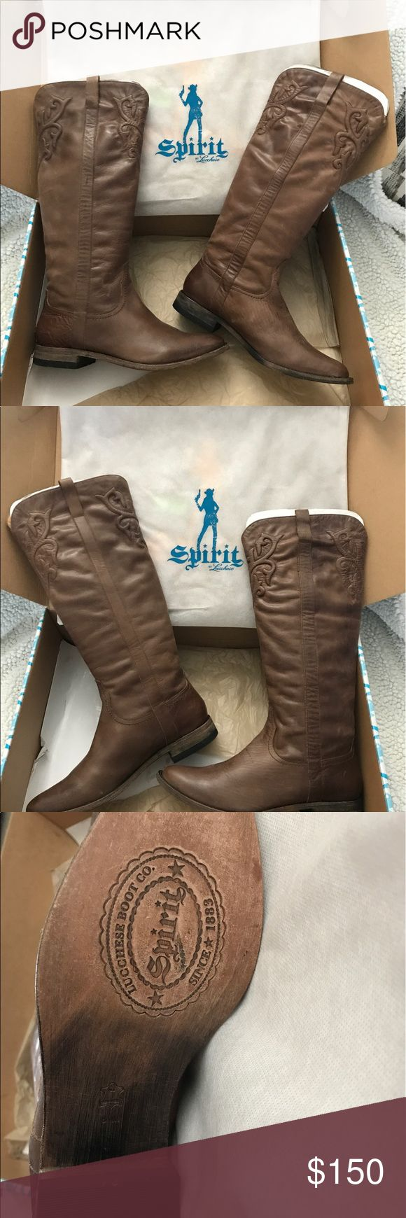 Leather riding boots Knee high riding boots medium brown flat heel new never warn comes in protector bag and box Lucchese Shoes Heeled Boots
