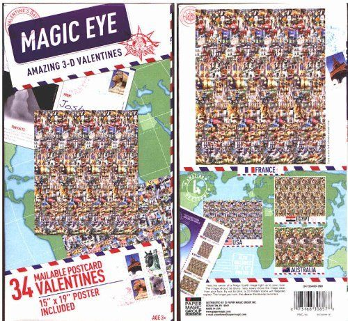 """Magic Eye Amazing 3-D Valentines by Magic Eye, Inc.. $5.95. 15"""" X 19"""" poster included. Mailable postcard format. 34 Magic Eye Valentines. Boxed Valentine's Day cards"""