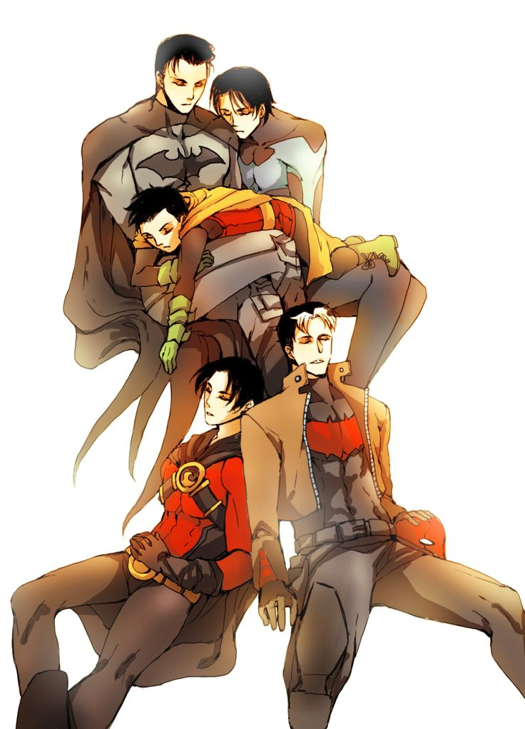 Batfamily. Batman, Nightwing, Robin, Red Robin, and Red Hood. Love them all. <3