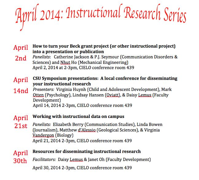 April Instructional Research Series Whats Happening At Csun