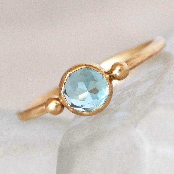 Swiss Topaz Gold Ring - Blue Topaz Ring - Topaz Gold Dot Ring
