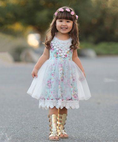 Another great find on #zulily! Blue Floral Dress - Toddler & Girls #zulilyfinds