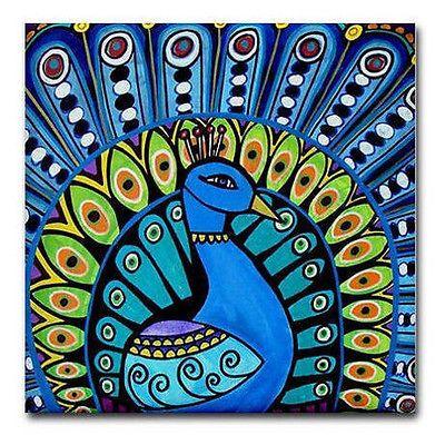 Peacock Shower Curtain Bird Bathroom Decor Folk Art