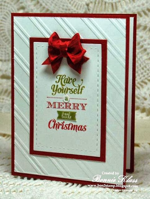Stamps:  Merry Little Christmas Ink: SU Markers (Cherry Cobbler, Old Olive Paper:  Whisper White, Cherry Cobbler Other:  Stylish Stripes EF,...