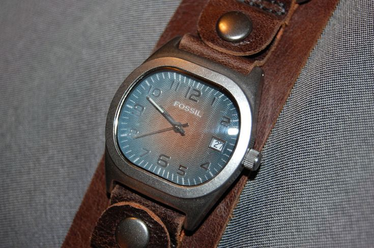 Fossil Men's Wide Brown Leather Band Watch Blue/Brown Dial w/ Date NEW BATTERY!  | eBay