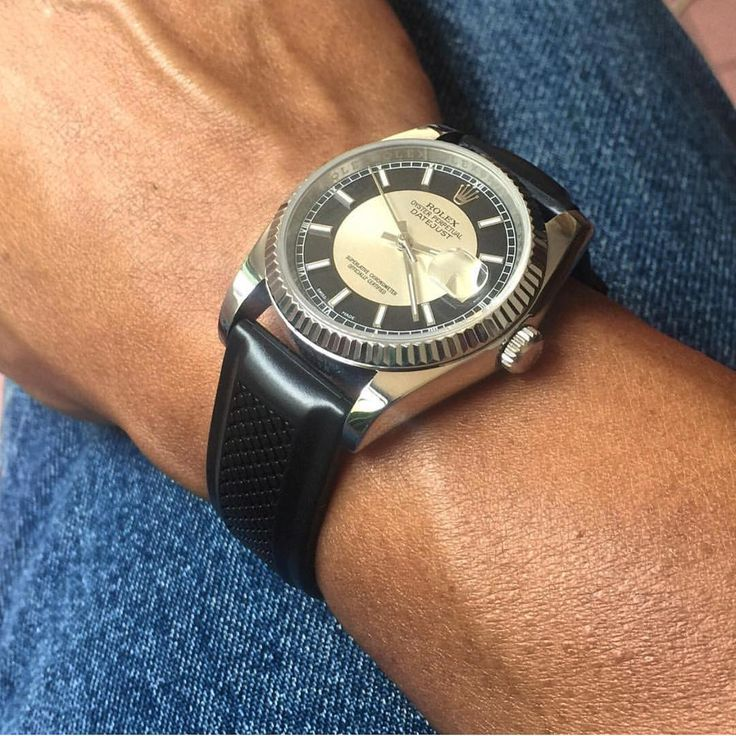 When the dial matches the bracelet you know that you've done everything right. 😎⌚️| repost from @grolazu thank you for sharing! #hirschbracelet rubber dive strap rolex datejust black natural, waterproof Caoutchouc vintage luxury racing watchobsession
