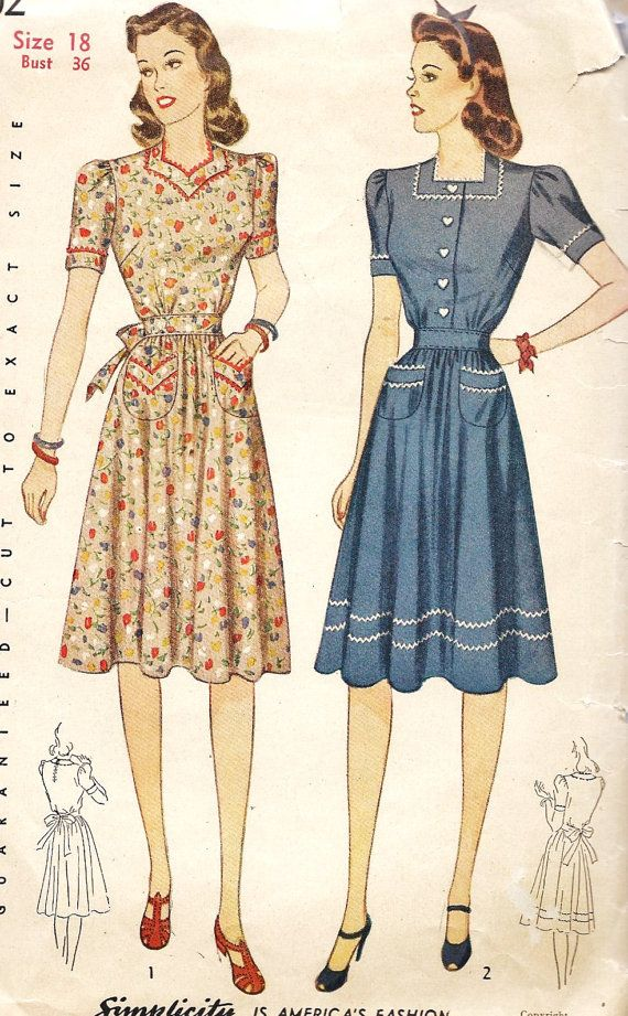 1940s Misses Dress Vintage Sewing Pattern day dress casual floral red white pink blue war era WWII color illustration fashion style house wife looks