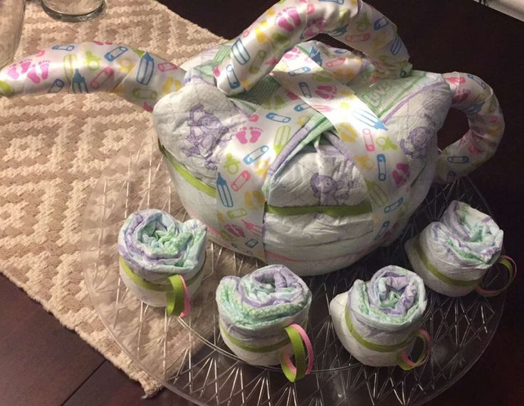 Teapot Diaper Cake for Tea Party Baby Shower! All you need is diapers, ribbon, scissors, rubber bands, and tape!