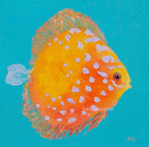 Fish painting, canvas art, tropical fish, discus, beach painting, beach house art, bathroom painting, kitchen art
