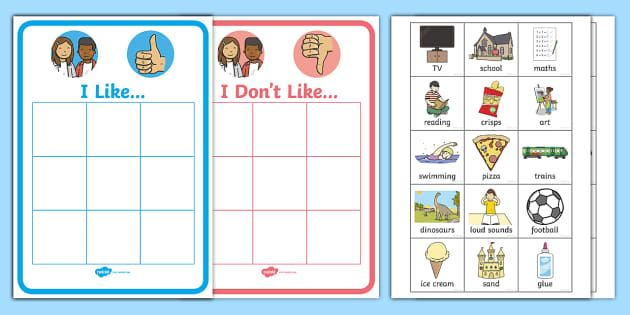 All About Me Likes And Dislikes Sorting Activity Twinkl