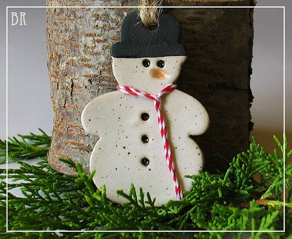 Snowman Christmas Ornament  Pottery Ornament  by DragonflyArts, $10.00
