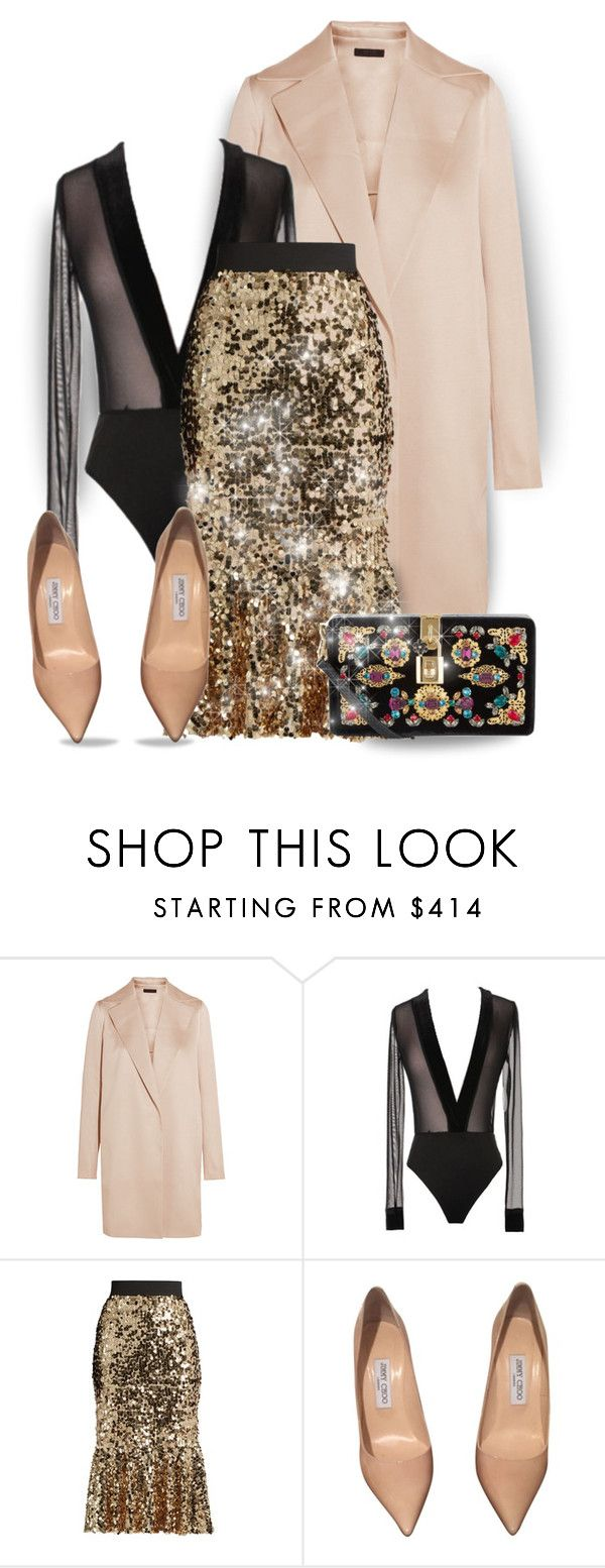 """""""Embellished sequin skirt (outfit-only)"""" by fashionlibra84 ❤ liked on Polyvore featuring The Row, Dolce&Gabbana and Jimmy Choo"""