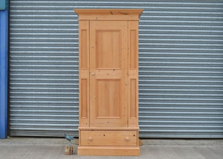 Antique Reproduction Solid Pine Single Wardrobe With Drawer.