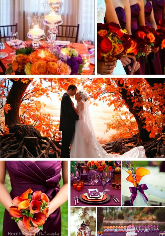 Fall wedding Purple and orange