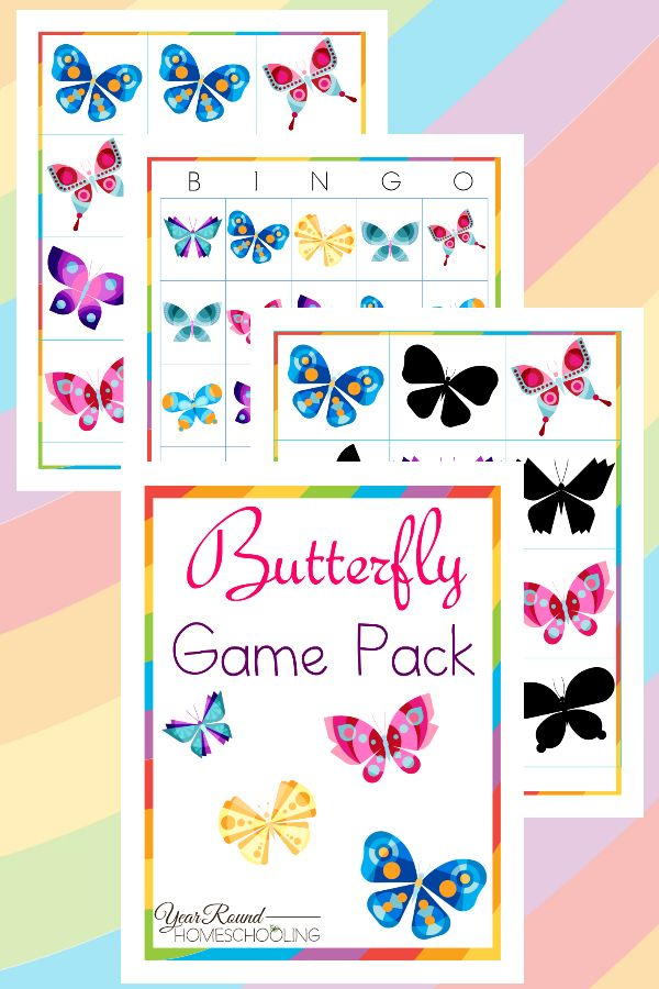 Butterfly Game Pack - By Year Round Homeschooling #Butterfly #Game #Homeschooling