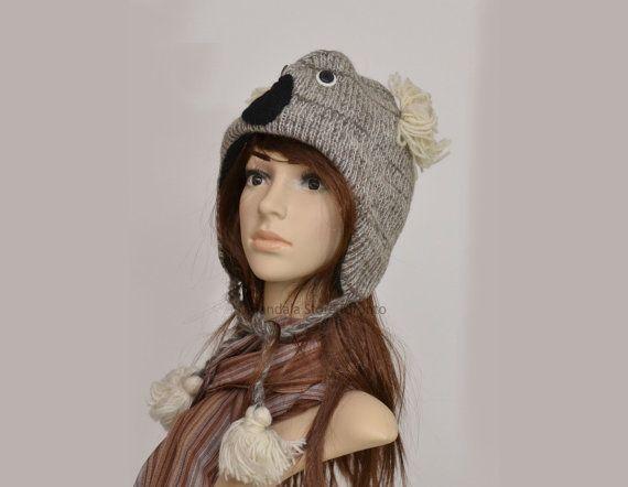 Koala bear animal hat   warm hat  knit hat  by HatsMittensEtc
