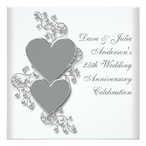 25th Wedding Anniversary Invitations Silver Hearts 25th Wedding Anniversary Party Card