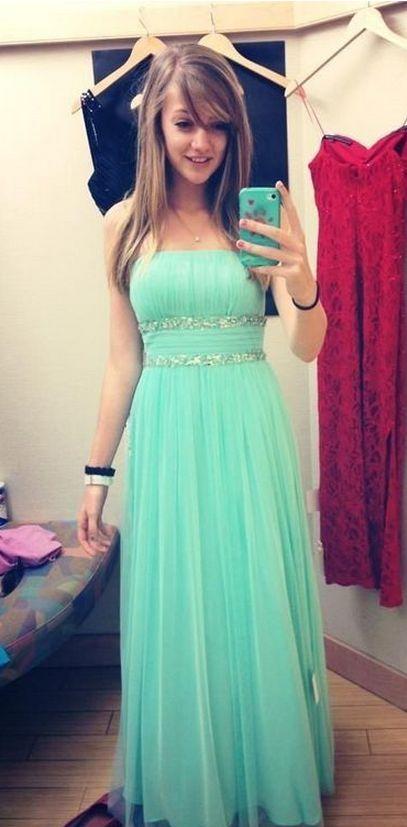Cute Elegant Mint Green Long Prom Dresses,Handmade Chiffom Girly Prom Gowns