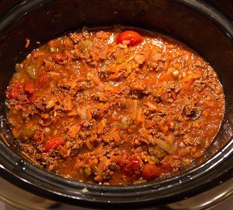 Långkokt köttfärssås Kött, Slökokning/Slow cooker Egentligen borde all köttfärssås vara slökokt/långkokt. Att försöka göra en god köttfärssås snabbt är bara dumt, för smakerna hinner verkligen inte gosa ihop sig som sig bör. Bäst tycker jag egentligen att det blir när jag på söndagen står och meckar och häller ner en halv flaska rödvin i såsen som får puttra ordentligt. Men idag blir det inte det, utan idag blir det ett recept specialanpassat för att göras i slow cookern/crock poten.
