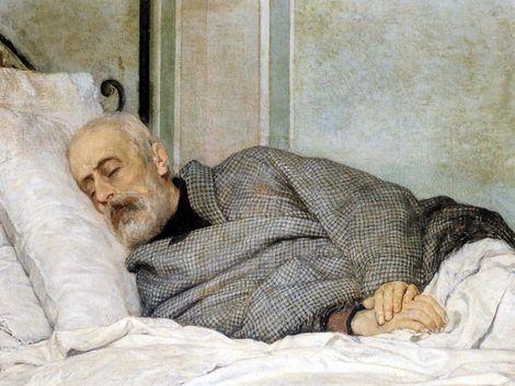Silvestro Lega; Mazzini morente; 1873; olio su tela; Museum of Art, Rhode Island School of Design (USA).