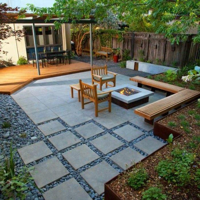 Gartengestaltung Holzsitzbnke Feuerstelle Moderne Genieen