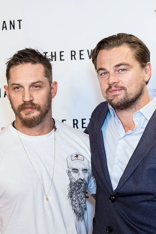 Tom Hardy and Leonardo DiCaprio attend a BAFTA screening of 'The Revenant' at Empire Leicester Square on December 6, 2015 in London, England.