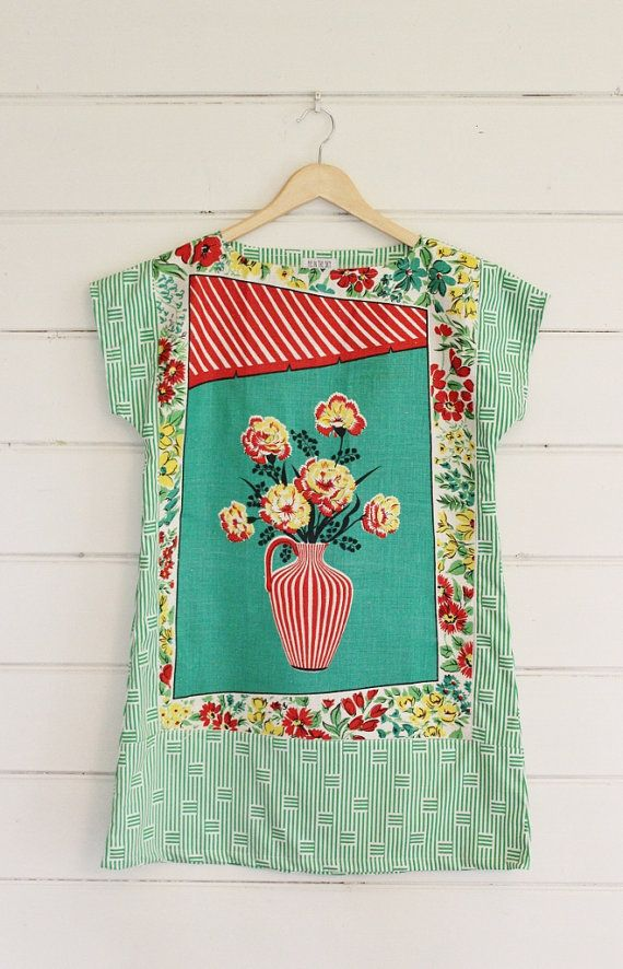 Upcycled Vintage Linen Tea Towel Tunic Dress XS Petite Womens Retro Flower Vase Print Floral Green White Stripes Red Mini Mod