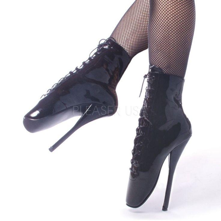 BALLET-1020, Ballet Schnürstiefelette schwarz Lack Ballet Heels
