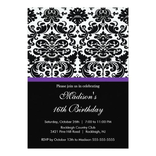 226 best damask sweet 16 gifts images – Damask Birthday Invitations