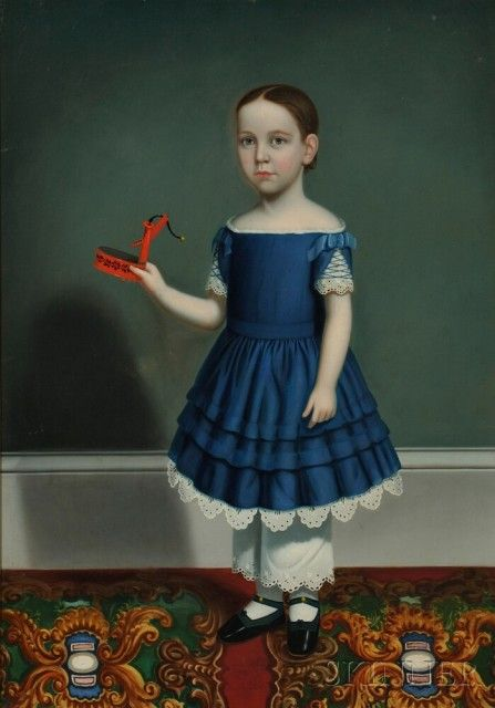 Attributed to William Thompson Bartoll (Marblehead, Massachusetts, 1817-1859)    Portrait of a Child Wearing a Blue Dress, Holding a Tinware Toy Pump. Unsigned.  Oil on canvas, reportedly depicting
