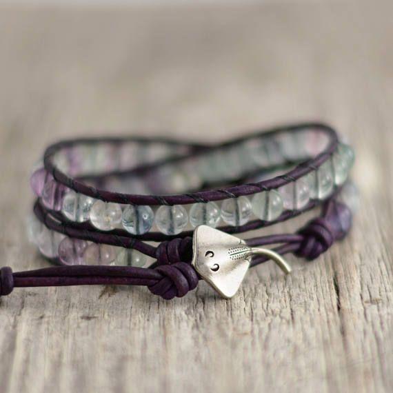 Flourite bead leather wrap bracelet. Purple jewelry. Stingray