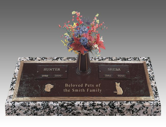 With our Pet Cremation Headstone with a Vase you can memorialize your loved pet forever in bronze. All our Grave Markers are made to highest industry standards and regulations.   All our Grave Markers are made to industry standards and regulations. Memorials.com has created a 5 Star Customer Service Rating Program for you to feel comfortable when purchasing from us. We are members of many trade organizations.