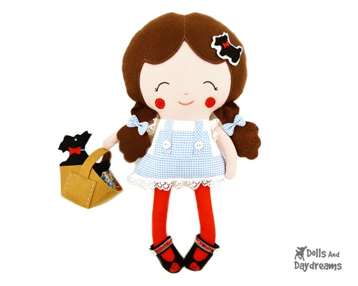 Dorothy Doll Sewing Pattern Wizard of Oz Stuffed Toy DIY - Felt Toto dog softie, Basket and Shoes included. $12.99, via Etsy.