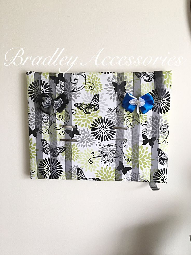 "Butterfly Hair Bow Holder~ Butterfly Hair Bow Organizer, Green Black Hair Bow Holder, Hair Tie Organizer, Hair Accessories Organizer 14x18"" by BradleyAccessories on Etsy https://www.etsy.com/listing/241680062/butterfly-hair-bow-holder-butterfly-hair"