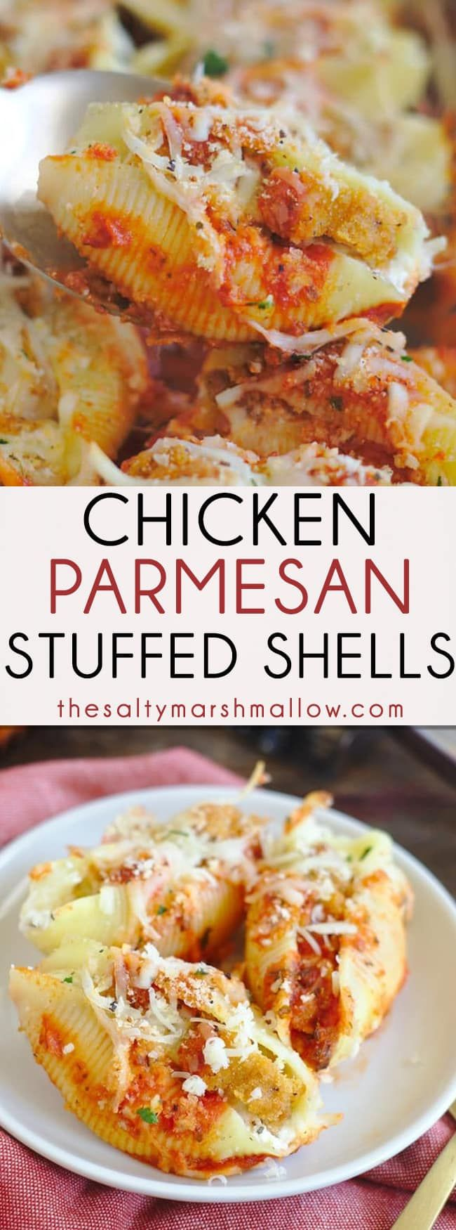 Chicken Parmesan Stuffed Shells - Delicious stuffed shell pasta filled with cheese and crispy chicken, topped with marinara sauce and more cheese! Chicken parmesan stuffed shells are an easy and delicious weeknight meal that is sure to be a new family favorite!