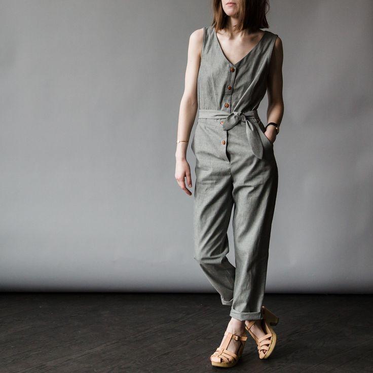 Charcoal Linen Jumpsuit /