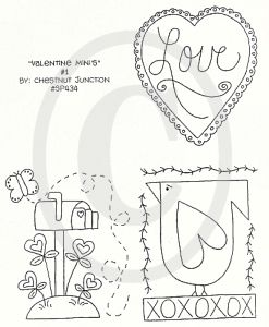 Free+Punch+Needle+Patterns | Valentine Minis 1 stitchery pattern, e pattern, epattern, e-pattern ...