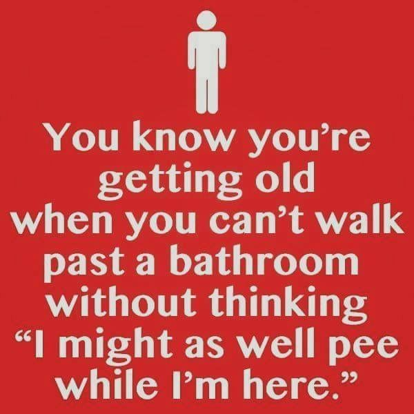 This is my Mum. The day I voluntarily go to a public toilet because my body is failing me, I'll know I'm old!
