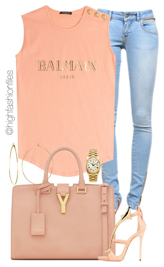 """Saturday"" by highfashionfiles ❤ liked on Polyvore featuring Anine Bing, Balmain, Yves Saint Laurent, Giuseppe Zanotti, Phyllis + Rosie and Rolex"