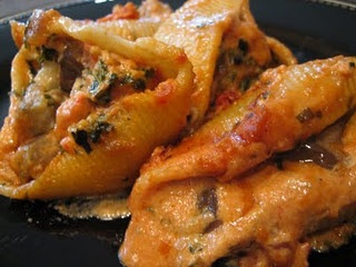 Sausage and eggplant stuffed shells | {Recipes} | Pinterest