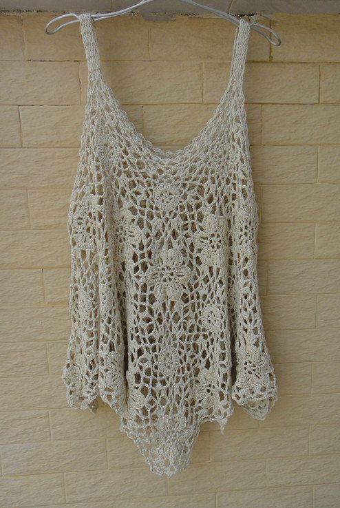 Crochet Tops Womens Tunics Plus Size Loose by Tinacrochetstudio