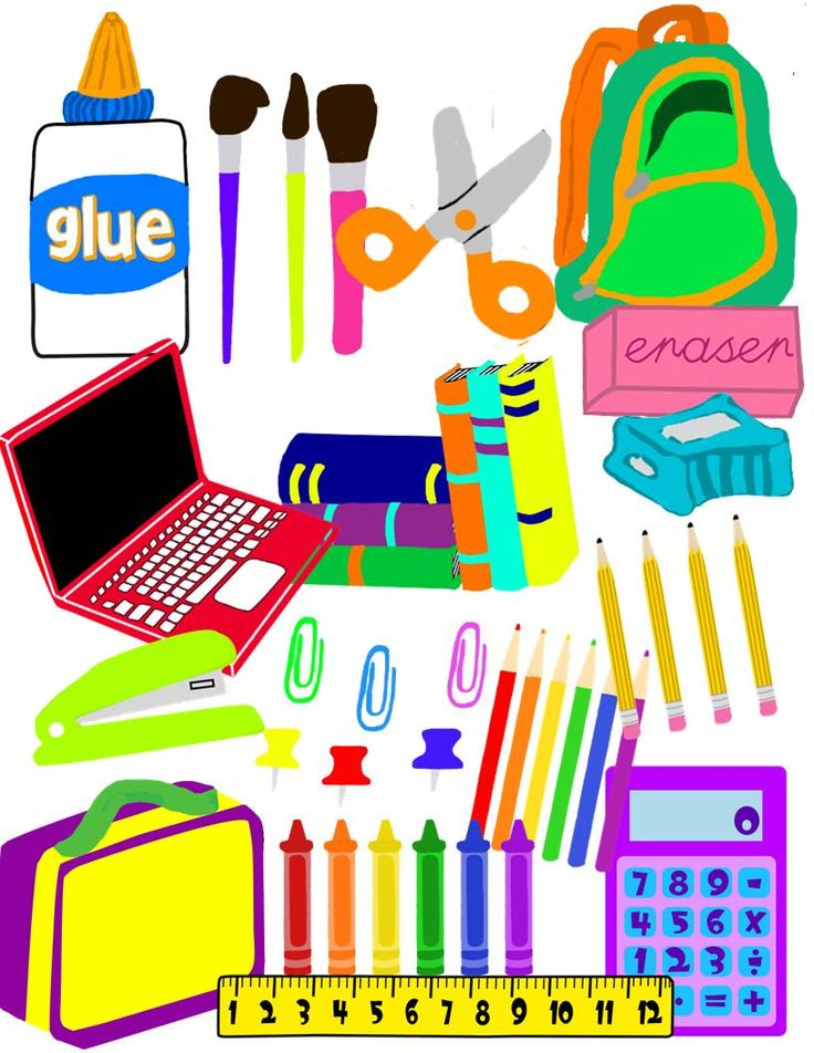 Fun School Supplies Clip Art For Colorful Classroom Organization Labeling Supply Bins And Creating
