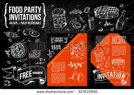 a hand drawn Menu Fliers template on Chalkboard Ads, including banners, frames, labels, swirls and advertisements for restaurant, coffee shop, bakery, bbq party or any food party invitations. - stock vector