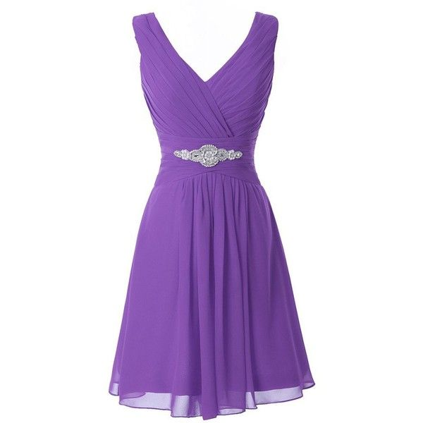 Manfei Women's V-Neck Chiffon Short Bridesmaid Dress Party Dress ($40) ❤ liked on Polyvore featuring dresses, purple dress, short dresses, short purple dresses, short cocktail dresses and bridesmaid dresses