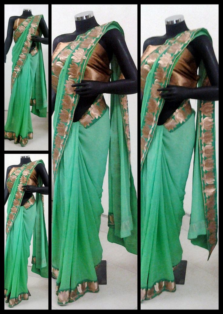 Lively green georgette saree with a gold lotus trim.