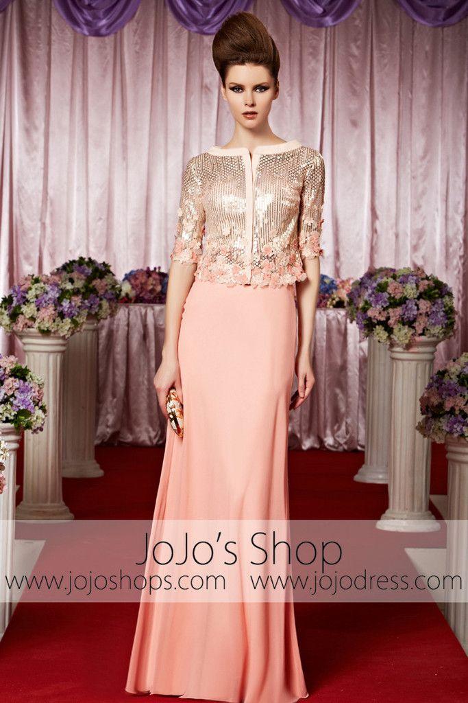 Pink Modest Long Sleeves Shimmery Elegant Prom Formal Evening Dress CX830386